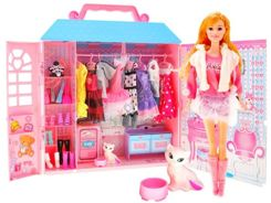 Doll house WARDROBE + clothes + cat ZA1788