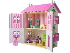 Wooden doll house with furniture villa ZA0944