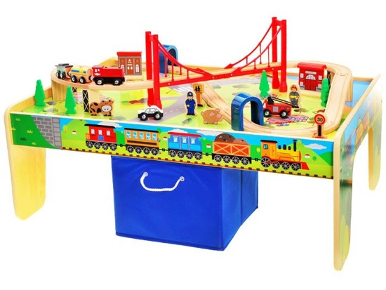 A large wooden train tracks TABLE ZA1801