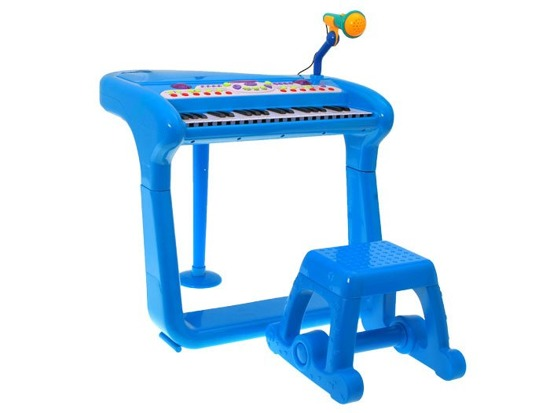 Authorities piano with a microphone and stools IN0062