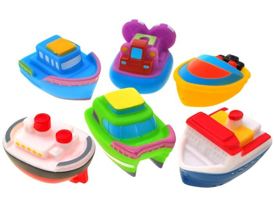 Set of 6 rubber boats ships bath ZA1610