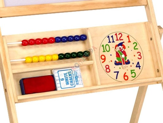 Table Wooden magnetic chalk + clock TA0065