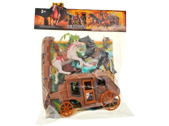 Wild West stagecoach 2 horses Cowboys ZA1392