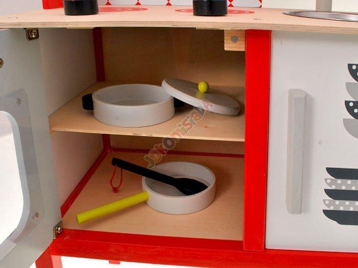 Duża drewniana kuchnia dla dzieci + garnki ZA1411   -> Kuchnia Dla Dzieci Na Baterie