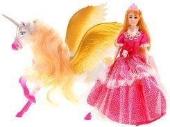 Anlily  Set Princess Dolls + UNICORN Pegasus ZA1789
