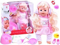 Blonde doll in earmuffs drink pee ZA1403
