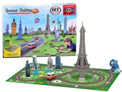 Puzzle 3D Eiffel Tower mat, Big Ben toy car ZA2536