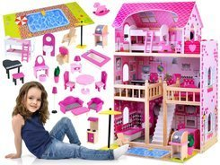 Wooden Dollhouse + 23 pcs. Furniture ZA0945