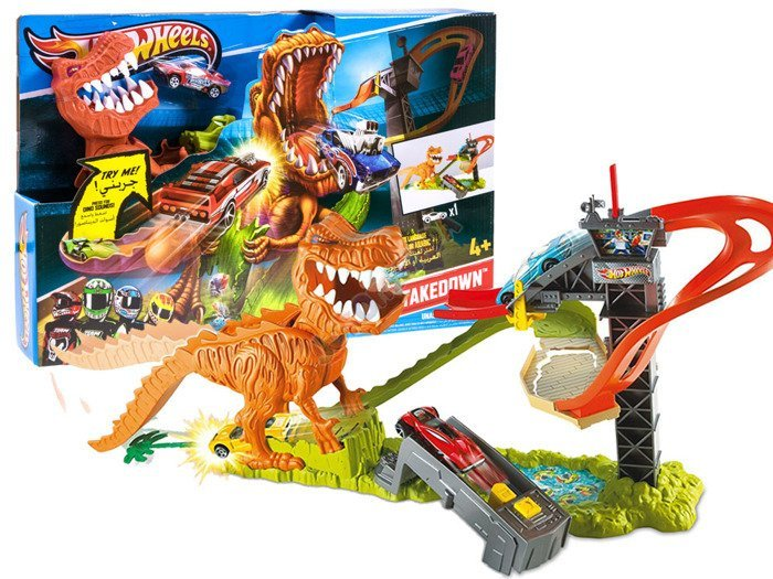 hot wheels track t rex takedown dinosaur za2254 toys. Black Bedroom Furniture Sets. Home Design Ideas