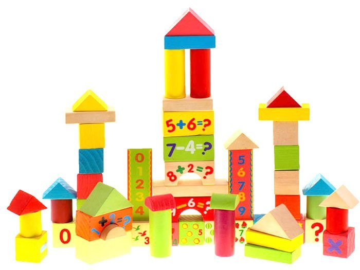 Painted Wooden Blocks For Children 58 Pieces Za0273 Toys