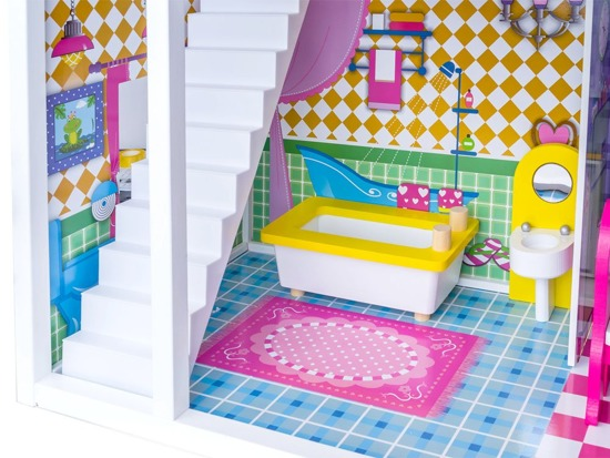 Wooden dollhouse LED grill ZA2122 SWIMMING POOL