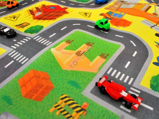 A MAT- The town, street + toy cars 80x70cm ZA1461
