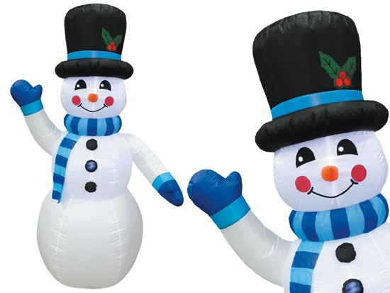 BIG inflatable snowman 240cm blue scarf DS0015