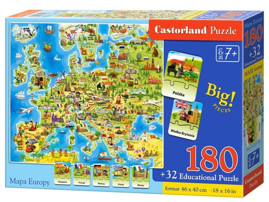 Castorland Puzzle Europe Map 180 ele Quiz CA0036