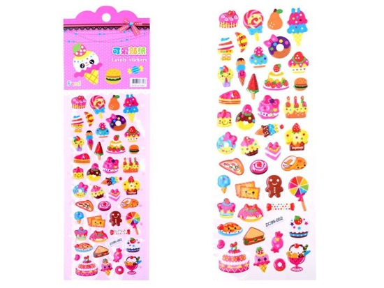 Colorful stickers convex digits fruit pies ZA1813