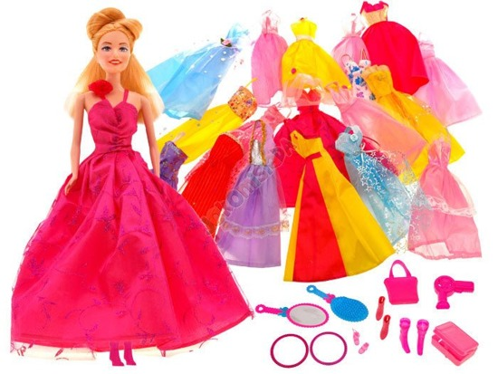 Doll with 19 dresses + boots mirror ZA0772