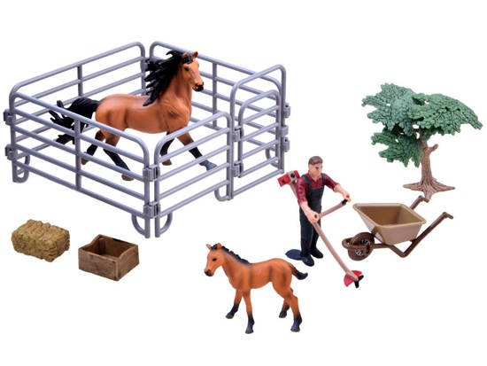 Horses farmer set of painted figures ZA2605