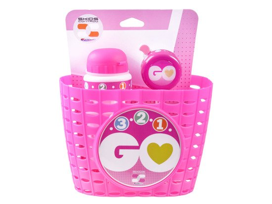 Pink basket set, bell, water bottle GO SP0617