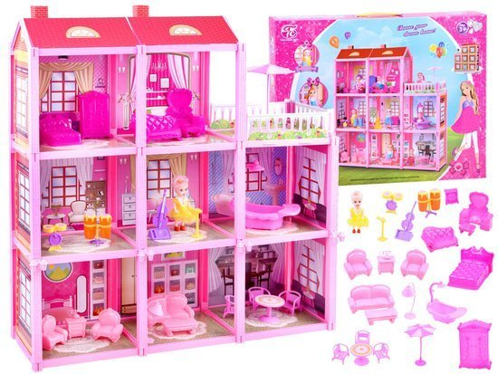 Pink house Large house + doll and furniture. Doll villa ZA3075