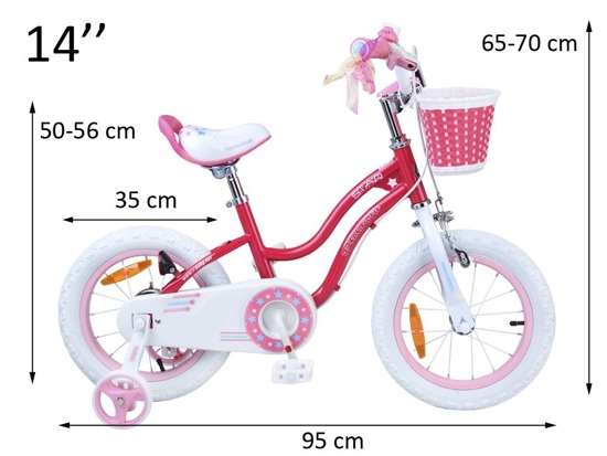 RoyalBaby Stargirl Girl's Bike with Training Wheels and Basket, Perfect Gift for Kids14 RO0109
