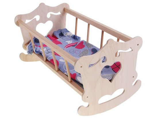Wooden Cradle for 50cm doll +  bedding ZA2021