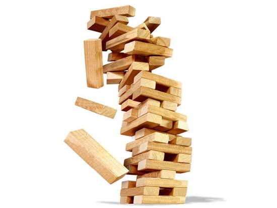 Wooden JENGA TOWER swaying GR0090
