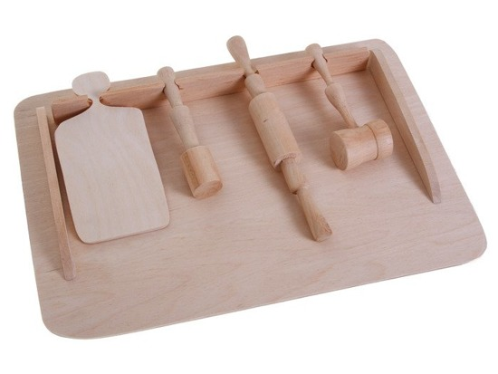 Wooden TABLE with utensils for cook ZA2023